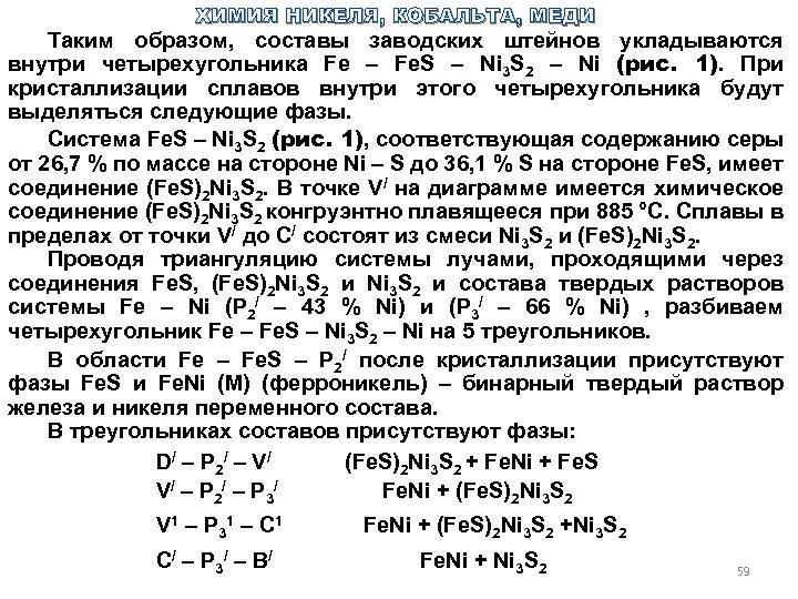 ХИМИЯ НИКЕЛЯ, КОБАЛЬТА, МЕДИ Таким образом, составы заводских штейнов укладываются внутри четырехугольника Fe –