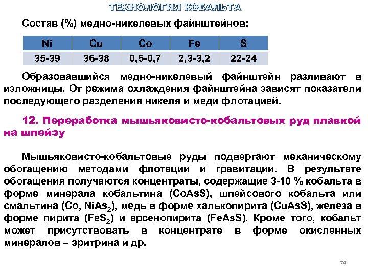 ТЕХНОЛОГИЯ КОБАЛЬТА Состав (%) медно никелевых файнштейнов: Ni 35 39 Cu 36 38 Co