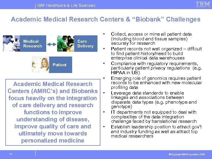 "IBM Healthcare & Life Sciences Academic Medical Research Centers & ""Biobank"" Challenges • Medical"