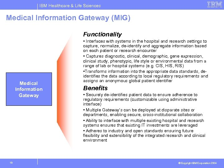 IBM Healthcare & Life Sciences Medical Information Gateway (MIG) Phase I: Enablers & Inhibitors