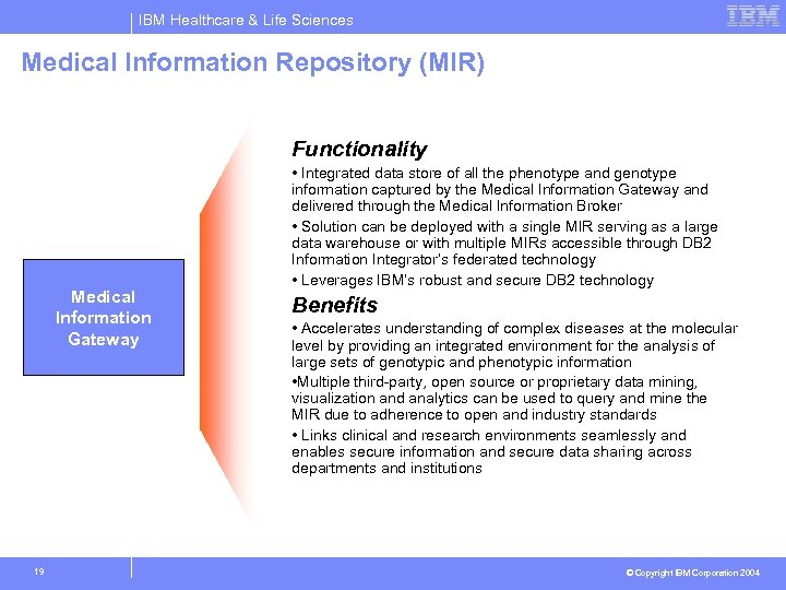 IBM Healthcare & Life Sciences Medical Information Repository (MIR) Phase I: Enablers & Inhibitors