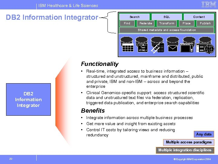 IBM Healthcare & Life Sciences DB 2 Information Integrator Search Find Federate SQL Content