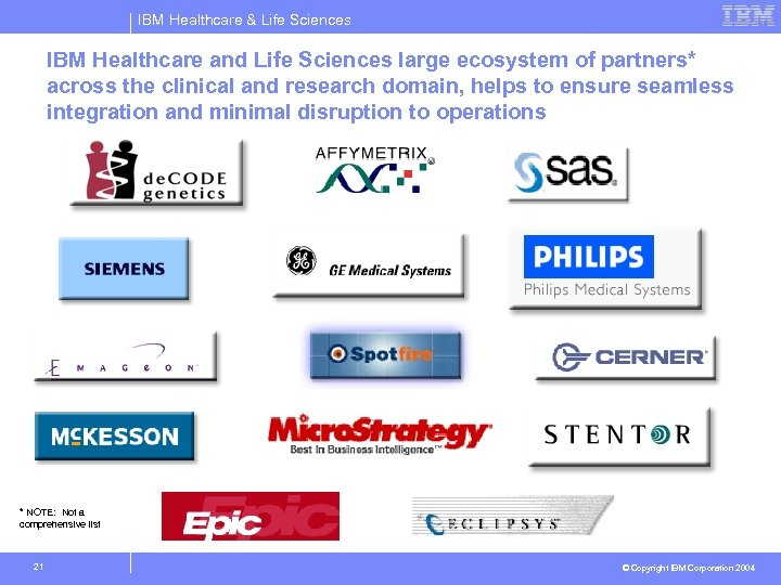 IBM Healthcare & Life Sciences IBM Healthcare and Life Sciences large ecosystem of partners*