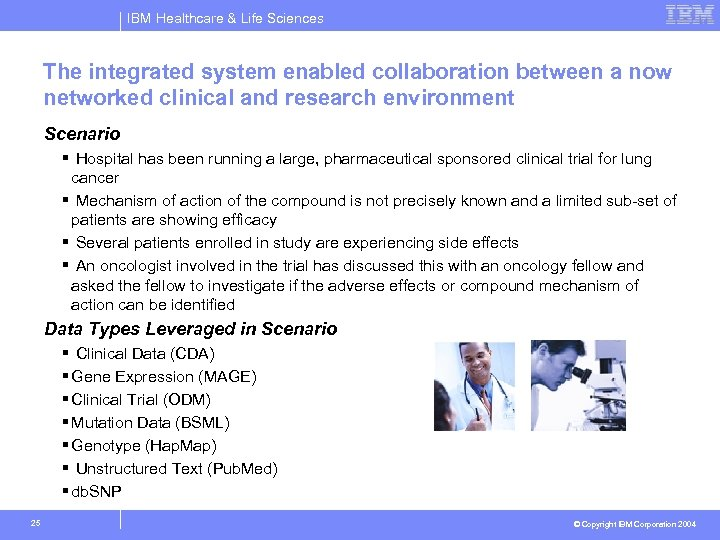 IBM Healthcare & Life Sciences The integrated system enabled collaboration between a now networked