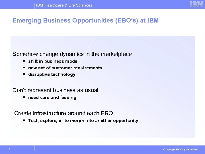 IBM Healthcare & Life Sciences Emerging Business Opportunities (EBO's) at IBM Somehow change dynamics