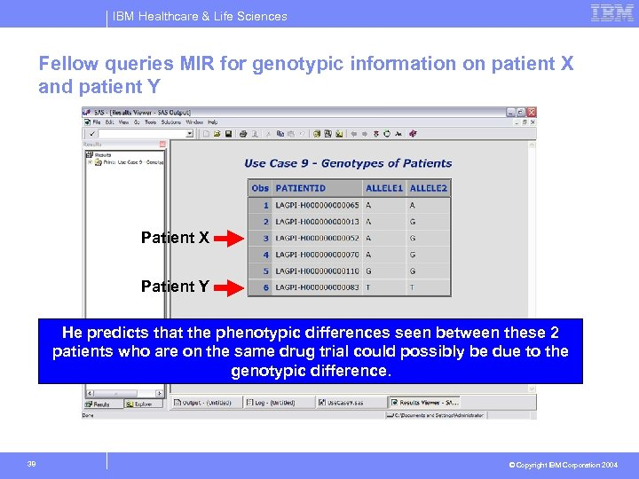 IBM Healthcare & Life Sciences Fellow queries MIR for genotypic information on patient X