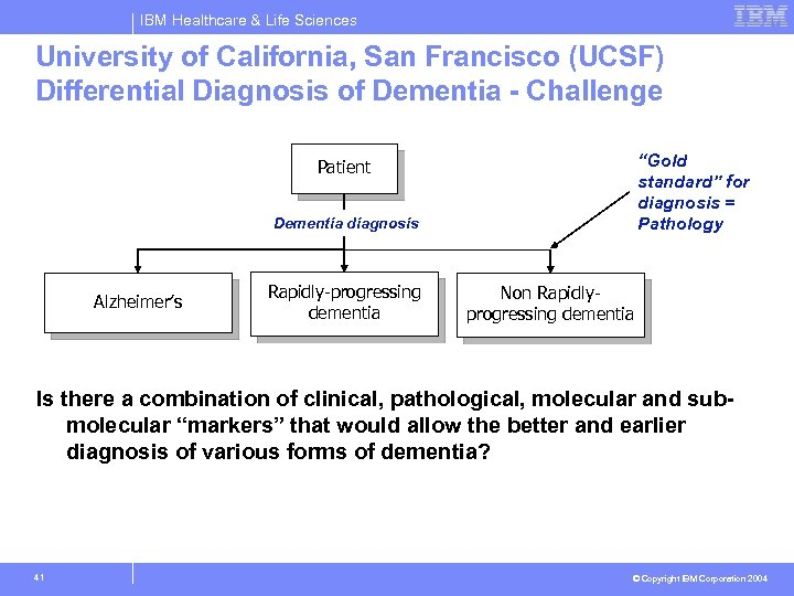IBM Healthcare & Life Sciences University of California, San Francisco (UCSF) Differential Diagnosis of