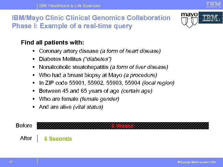 IBM Healthcare & Life Sciences IBM/Mayo Clinical Genomics Collaboration Phase I: Example of a