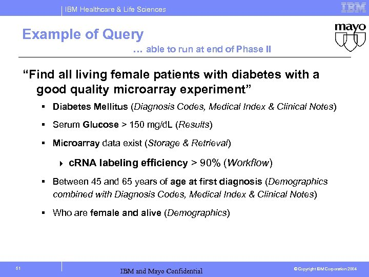 IBM Healthcare & Life Sciences Example of Query … able to run at end