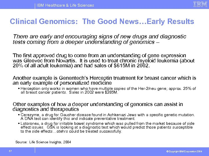 IBM Healthcare & Life Sciences Clinical Genomics: The Good News…Early Results There are early