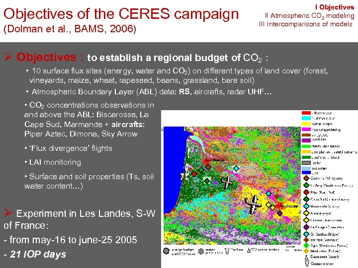 Objectives of the CERES campaign (Dolman et al. , BAMS, 2006) I Objectives II