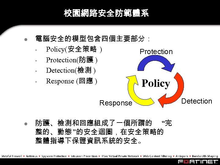 校園網路安全防範體系 l 電腦安全的模型包含四個主要部分: • Policy(安全策略 ) Protection • Protection(防護 ) • Detection(檢測 ) •