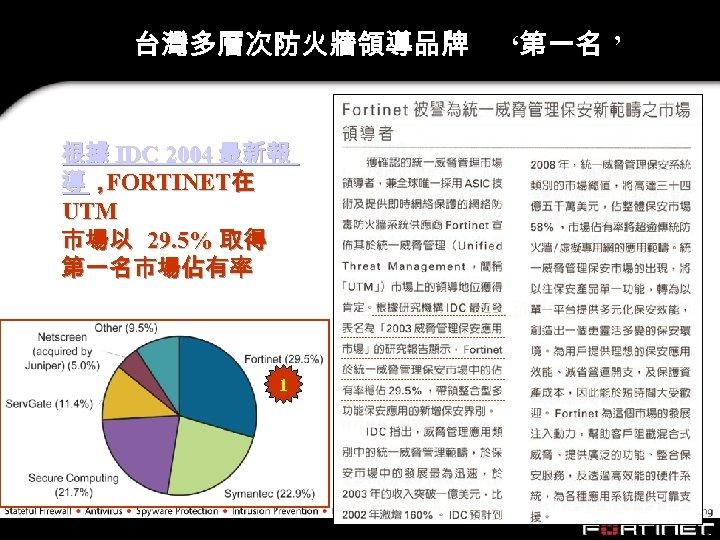 台灣多層次防火牆領導品牌 根據 IDC 2004 最新報 導, FORTINET在 UTM 市場以 29. 5% 取得 第一名市場佔有率 1