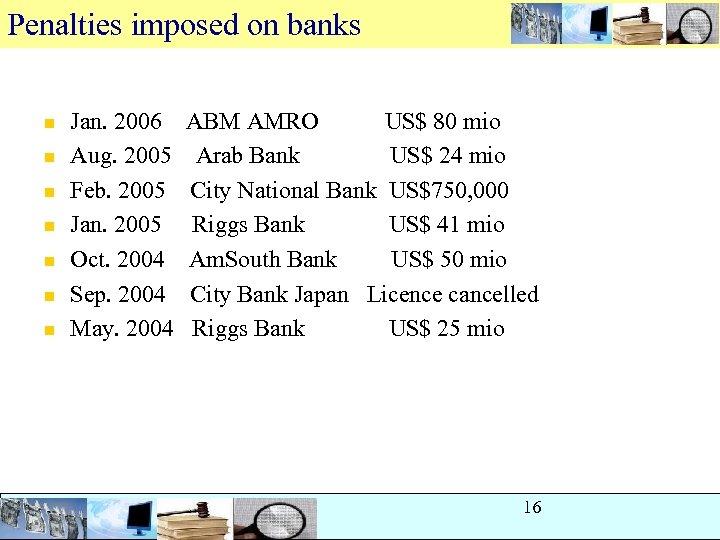 Penalties imposed on banks n n n n Jan. 2006 ABM AMRO US$ 80