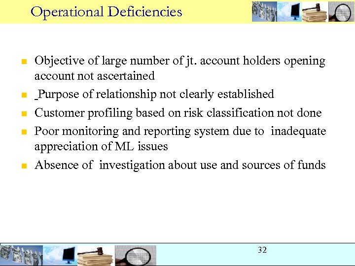 Operational Deficiencies n n n Objective of large number of jt. account holders opening