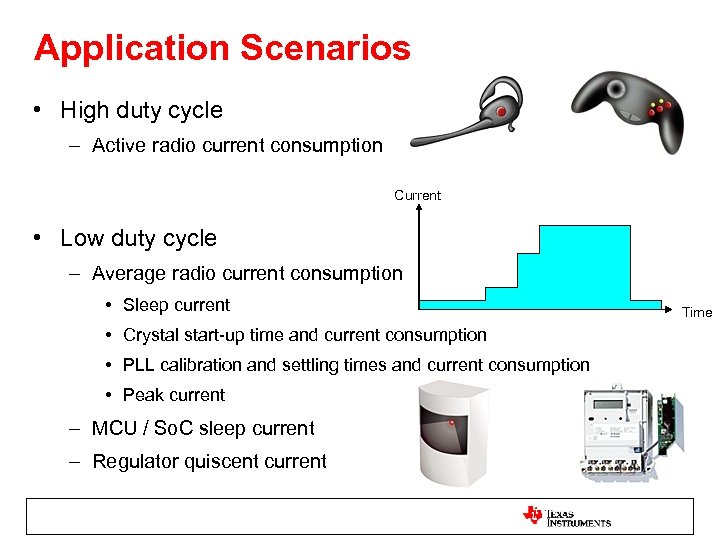 Application Scenarios • High duty cycle – Active radio current consumption Current • Low
