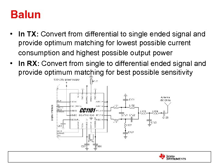 Balun • In TX: Convert from differential to single ended signal and provide optimum
