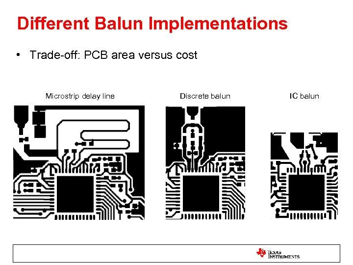 Different Balun Implementations • Trade-off: PCB area versus cost Microstrip delay line Discrete balun
