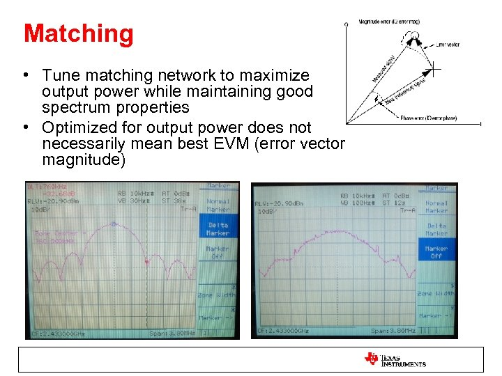 Matching • Tune matching network to maximize output power while maintaining good spectrum properties