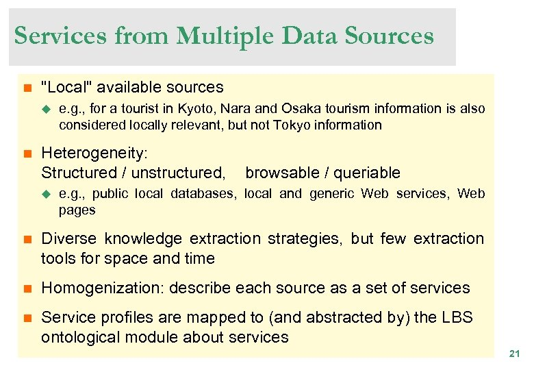 Services from Multiple Data Sources n