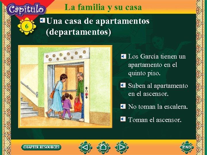 6 La familia y su casa Una casa de apartamentos (departamentos) Los García tienen