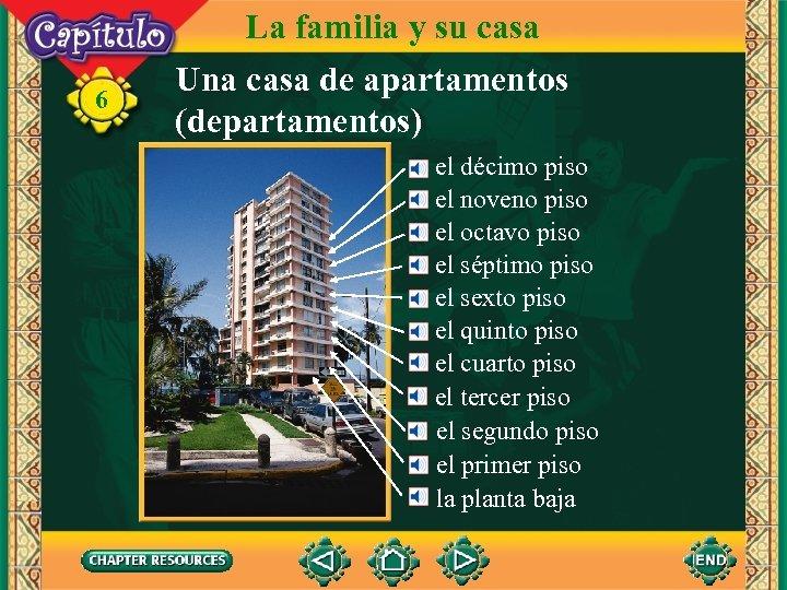 6 La familia y su casa Una casa de apartamentos (departamentos) el décimo piso