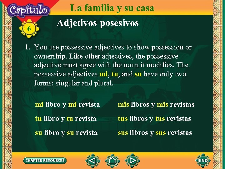 6 La familia y su casa Adjetivos posesivos 1. You use possessive adjectives to