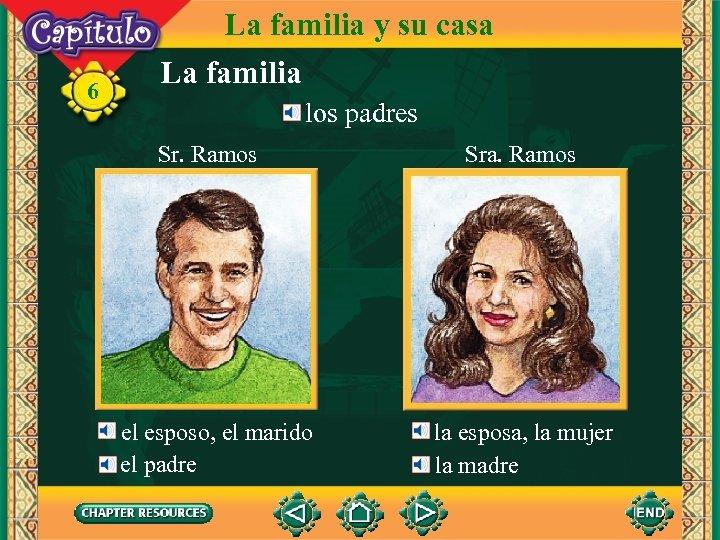 6 La familia y su casa La familia los padres Sr. Ramos el esposo,