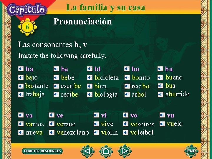 6 La familia y su casa Pronunciación Las consonantes b, v Imitate the following