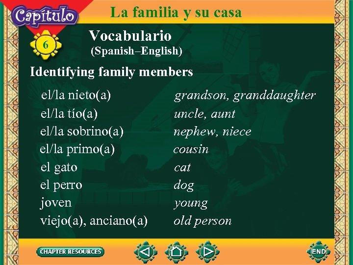 6 La familia y su casa Vocabulario (Spanish–English) Identifying family members el/la nieto(a) el/la