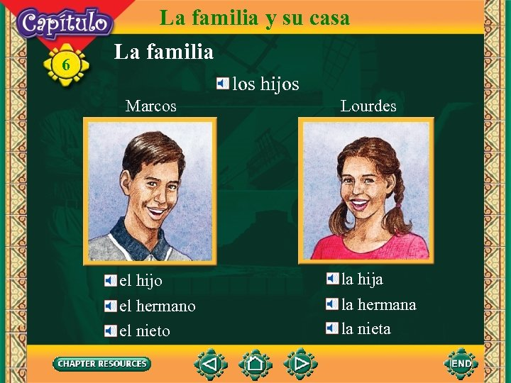 6 La familia y su casa La familia los hijos Marcos el hijo el