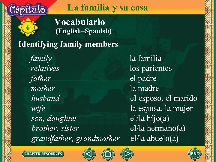 6 La familia y su casa Vocabulario (English–Spanish) Identifying family members family relatives father