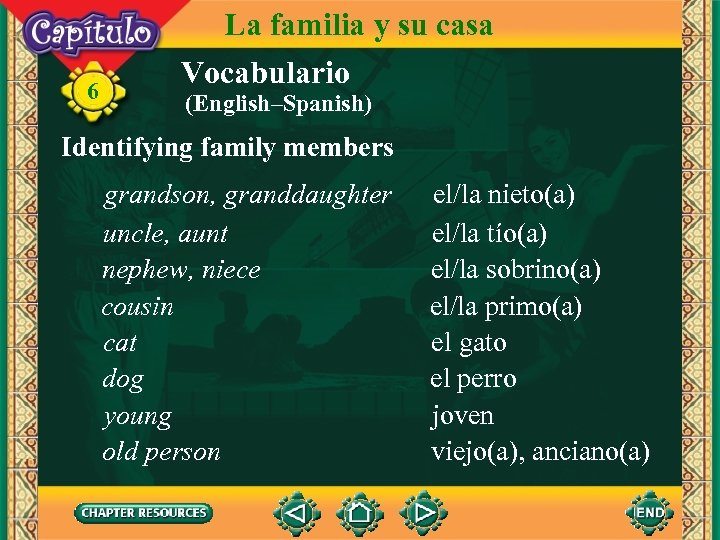 6 La familia y su casa Vocabulario (English–Spanish) Identifying family members grandson, granddaughter uncle,