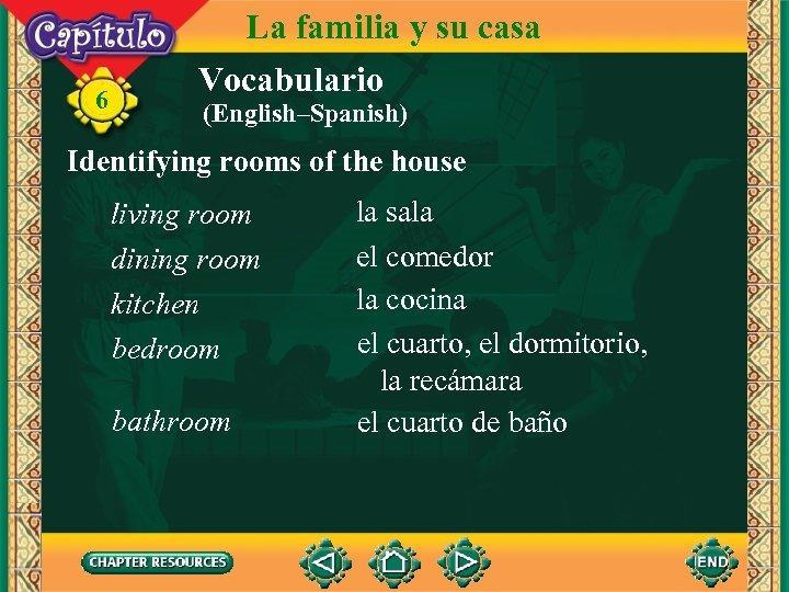 6 La familia y su casa Vocabulario (English–Spanish) Identifying rooms of the house living