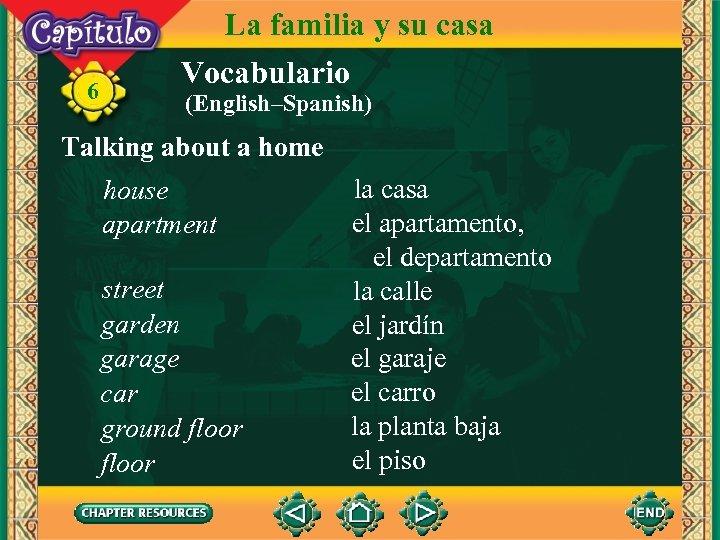 6 La familia y su casa Vocabulario (English–Spanish) Talking about a home house apartment