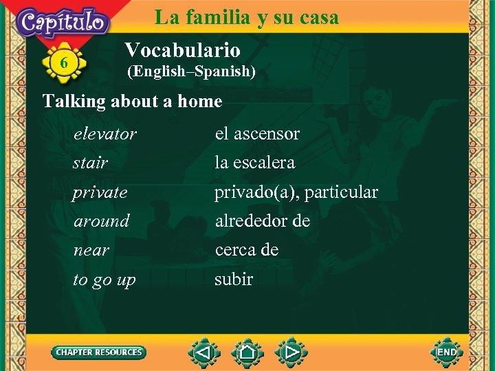 La familia y su casa Vocabulario 6 (English–Spanish) Talking about a home elevator el