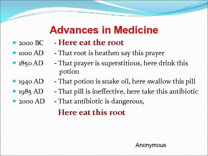 Advances in Medicine 2000 BC 1000 AD 1850 AD 1940 AD 1985 AD 2000