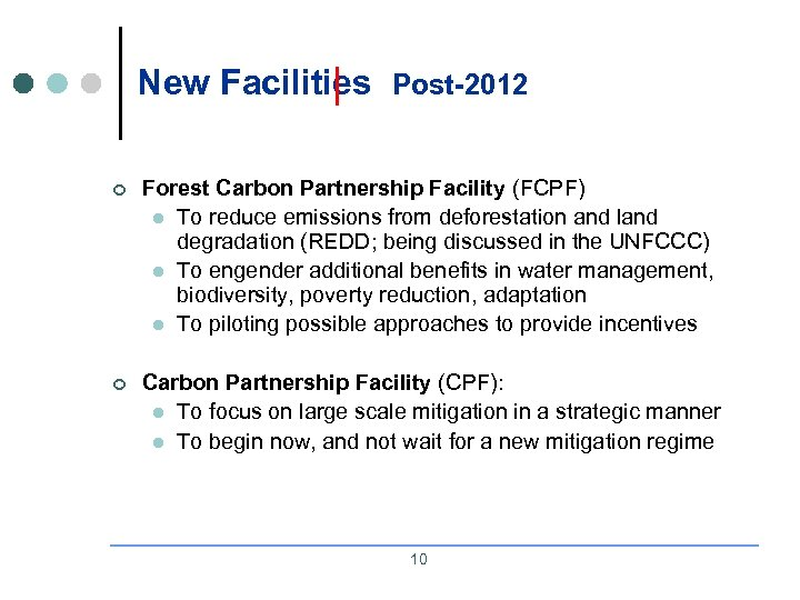 New Facilities Post-2012 ¢ Forest Carbon Partnership Facility (FCPF) l To reduce emissions from