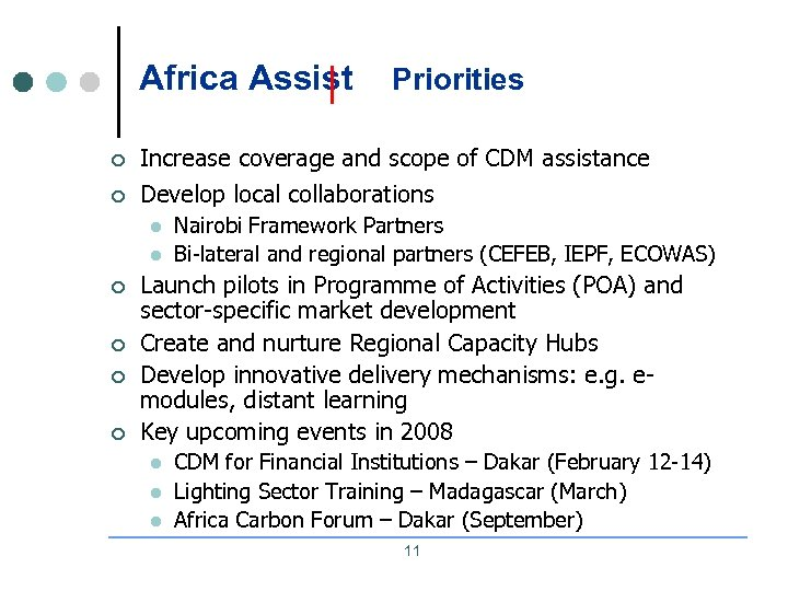 Africa Assist Priorities ¢ Increase coverage and scope of CDM assistance ¢ Develop local