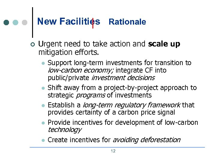New Facilities Rationale ¢ Urgent need to take action and scale up mitigation efforts.