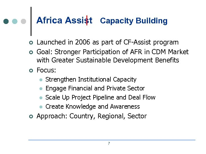 Africa Assist Capacity Building ¢ ¢ ¢ Launched in 2006 as part of CF-Assist