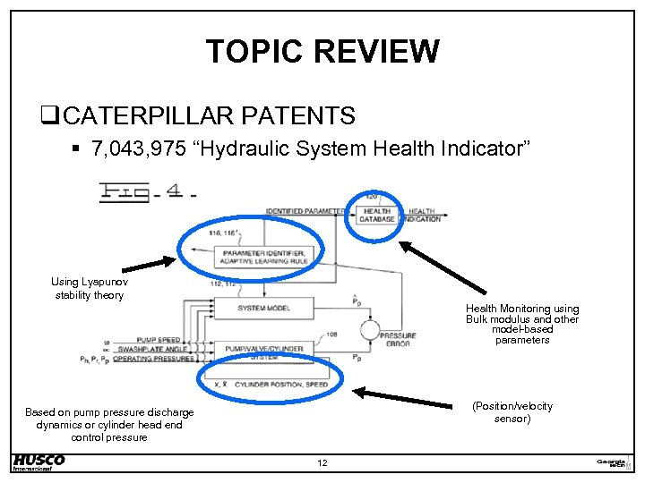"TOPIC REVIEW q CATERPILLAR PATENTS § 7, 043, 975 ""Hydraulic System Health Indicator"" Using"