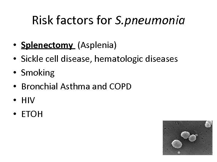 Risk factors for S. pneumonia • • • Splenectomy (Asplenia) Sickle cell disease, hematologic