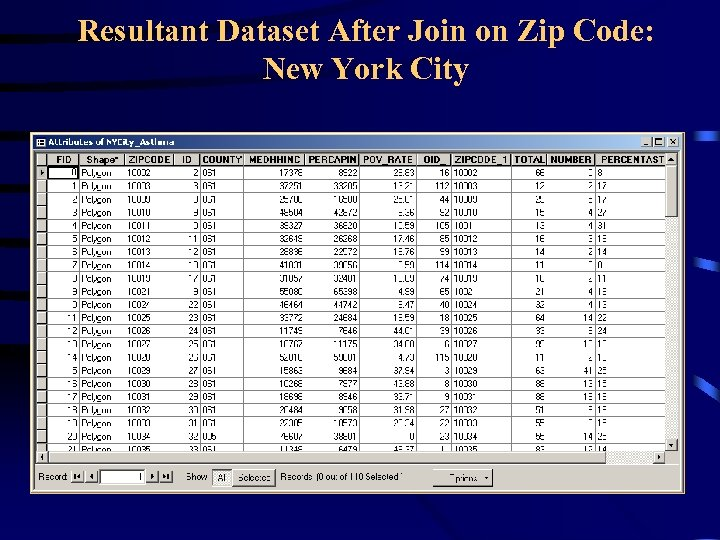 Resultant Dataset After Join on Zip Code: New York City