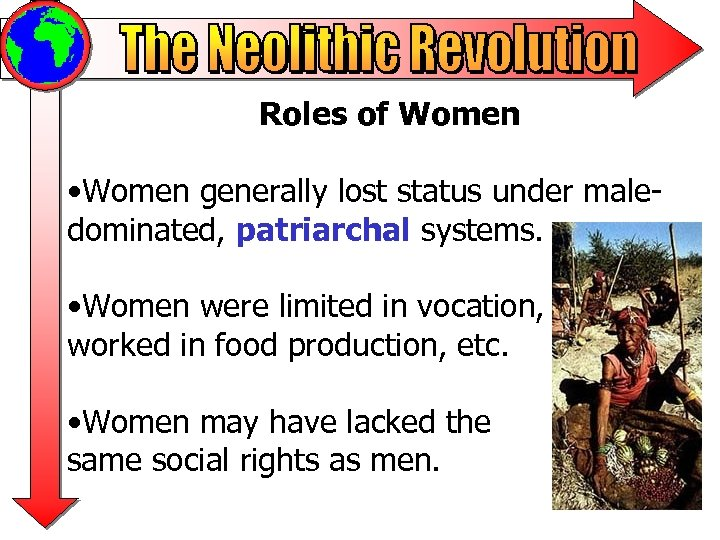 Roles of Women • Women generally lost status under maledominated, patriarchal systems. • Women