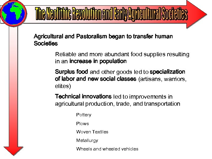 Agricultural and Pastoralism began to transfer human Societies Reliable and more abundant food supplies