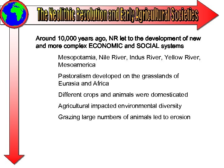 Around 10, 000 years ago, NR let to the development of new and more