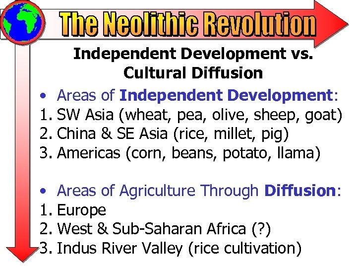 Independent Development vs. Cultural Diffusion • Areas of Independent Development: 1. SW Asia (wheat,
