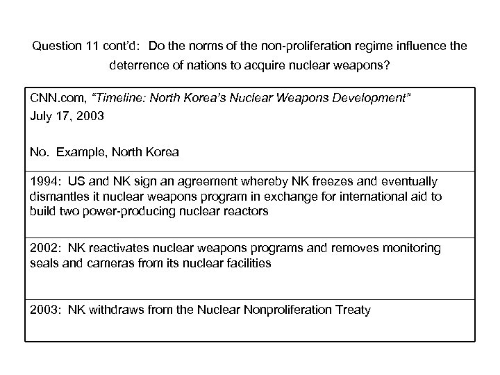 Question 11 cont'd: Do the norms of the non-proliferation regime influence the deterrence of