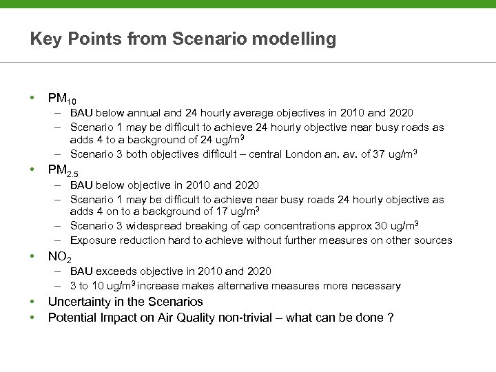 Key Points from Scenario modelling • PM 10 – BAU below annual and 24